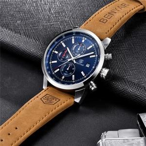Image 4 - BENYAR relojes azules para hombre, cronógrafo de cuarzo deportivo, resistente al agua, militar, Masculino