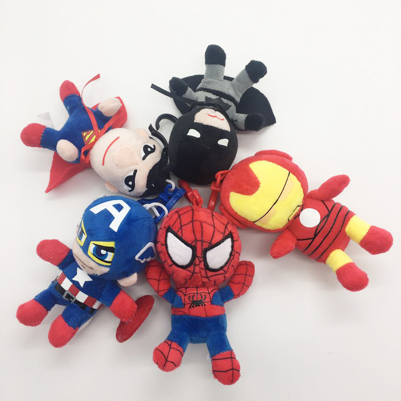 1psc 10cm The Avengers Super Hero Spiderman Iron Man Batman Captain America Keychain Plush Stuffed Toys Doll Gifts For Kids