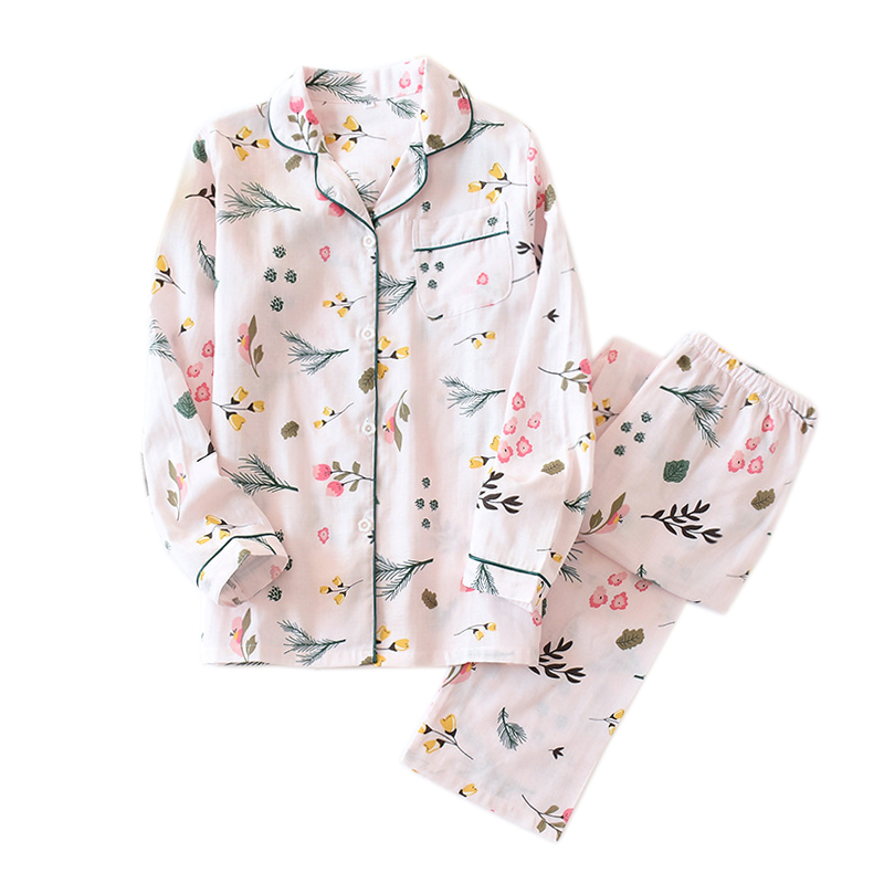 Japanese Fresh Leaves Pajama Sets Women 100% Gauze Cotton Long Sleeve Summer Casual Sleepwear Women Pyjamas 2020 New