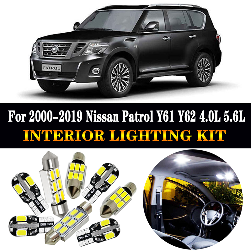 8Pcs White Bulbs LED Interior Kit Car Lights For 2000-2004 Nissan Xterra