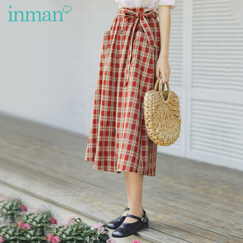 INMAN 2020 Summer New Arrival Vintage Hongkong Style With Belt Slimmed Single-breasted Skirt