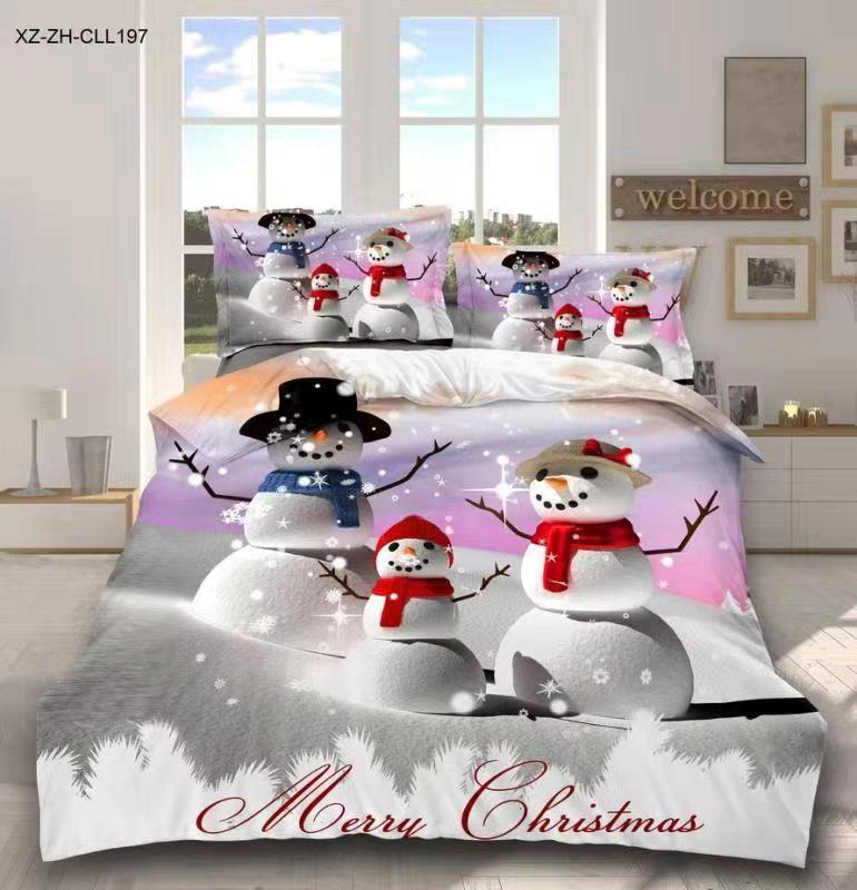 BEST.WENSD OEM Christmas Snowman Beddings King Size Comforter Set Kid Twin Full Queen King Bed Merry Christmas Duvet Set Cover