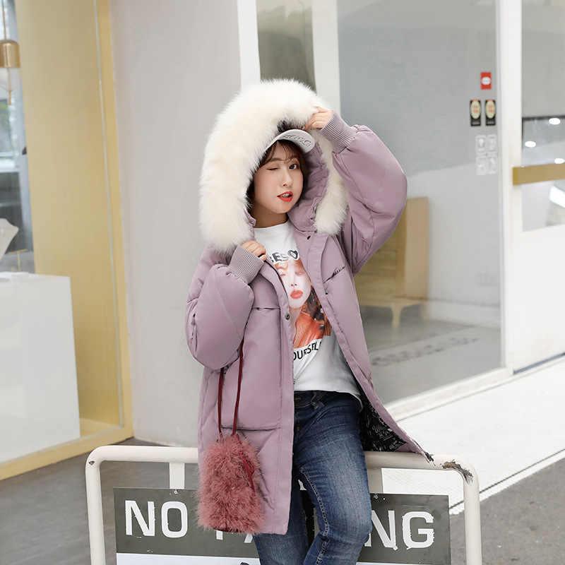 화이트 플러스 오리 사이즈 코트 겨울 다운 여성 한국어 퍼퍼 자켓 Casaco 007 YY1271