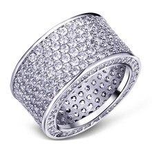Роскошные ювелирные изделия, зеркальные серебряные кольца с драгоценным камнем, блестящее кольцо на палец с 320 шт. полностью из искусственного бриллианта для женщин и мужчин