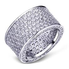 المجوهرات الفاخرة الفقرة 925 الاسترليني خواتم فضة بالأحجار الكريمة إصبع مشرقة 320 قطعة خاتم كامل مقلد الماس للرجال النساء