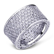 Luxurious Jewelry Paragraph 925 Sterling Silver Gemstone Rings Finger Shining 320pcs Full Simulated Diamond Ring for Women MEN