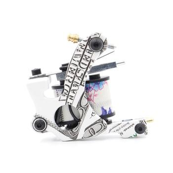 High Quality White 10 Wrap Coils Tattoo Machine Gun For Liner And Shader Iron Tattoo Machine For Tattoo Grip Tattoo Supplies high quality 100pcs assorted sterilized tattoo premium needles round shader 1205m1 for tattoo machine gun grip tip free shipping