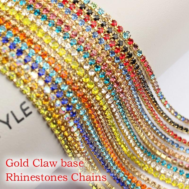 Многоцветные стразы, 3 ярда, золотая цепочка-коготь, основа, для самостоятельного изготовления одежды, украшения ногтей