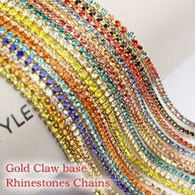 3 jardas multicolorido strass corrente garra base de ouro corrente ss6-ss12 para diy roupas decoração do prego