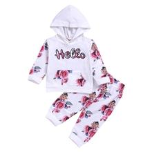 2 pieces Baby Girls Long Sleeve Flowers Hoodie Tops and Pants Tracksuit Outfit with Pocket Spring Autumn