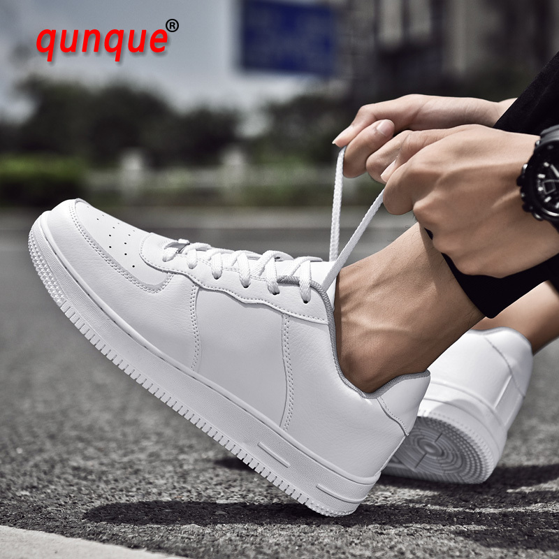 2019 Men Casual Shoes Breathable Lace-Up Leather Black White Flat Shoes High-low Top Couple Sneakers Tenis Masculino Adulto