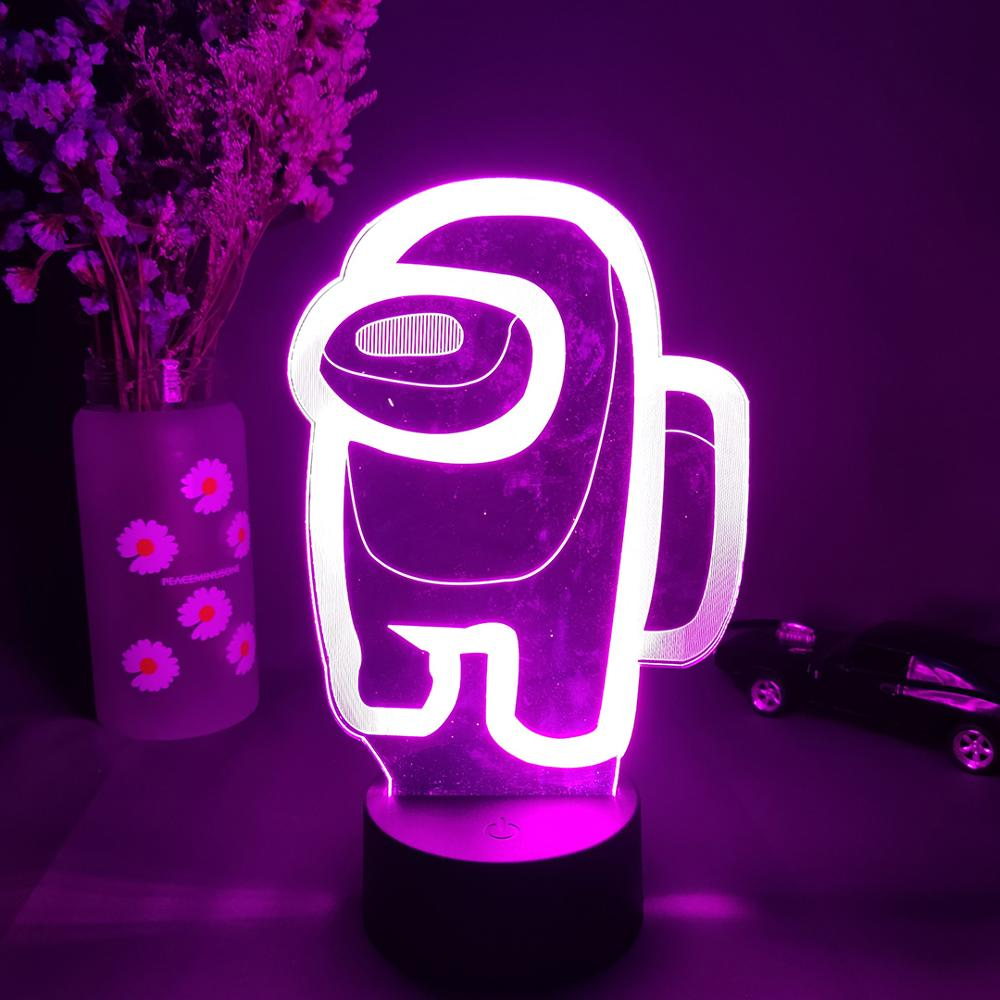 violet Among Us 3D Crewmate Led Light Imposter Crewmate LED Lamp