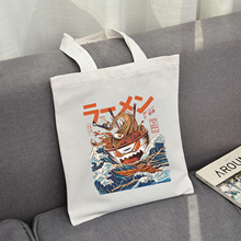 Tote-Bag Book-Storage Anime Black Japanese Canvas Print Fashion Women School Ulzzang