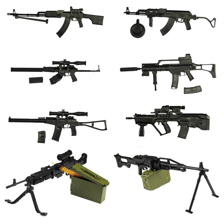 8pcs/set 1:6 Gun Model 12 Inch Action Figures Weapon Gatling Minigun Terminator Gift For Children Gundam Model Weapon