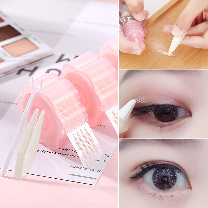 360pcs/set Eyelid Tape Sticker Mesh Yarn In Contact With Water Self-adhesive Glue Invisible Double Eyelid Paste Reel