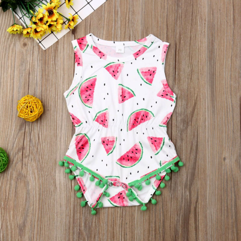 Newborn Baby Girl Watermelon Cute Tassel Romper Jumpsuit Bodysuit Clothes Outfit Summer