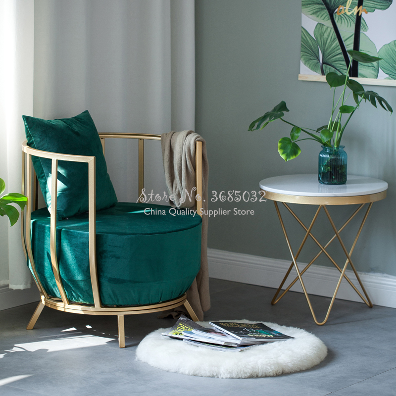Modern Simple Gold Frame Chair Luxury Fashion Queen Princess Sponge Sofa  With Flannel Padded Cushion Metal IronTable