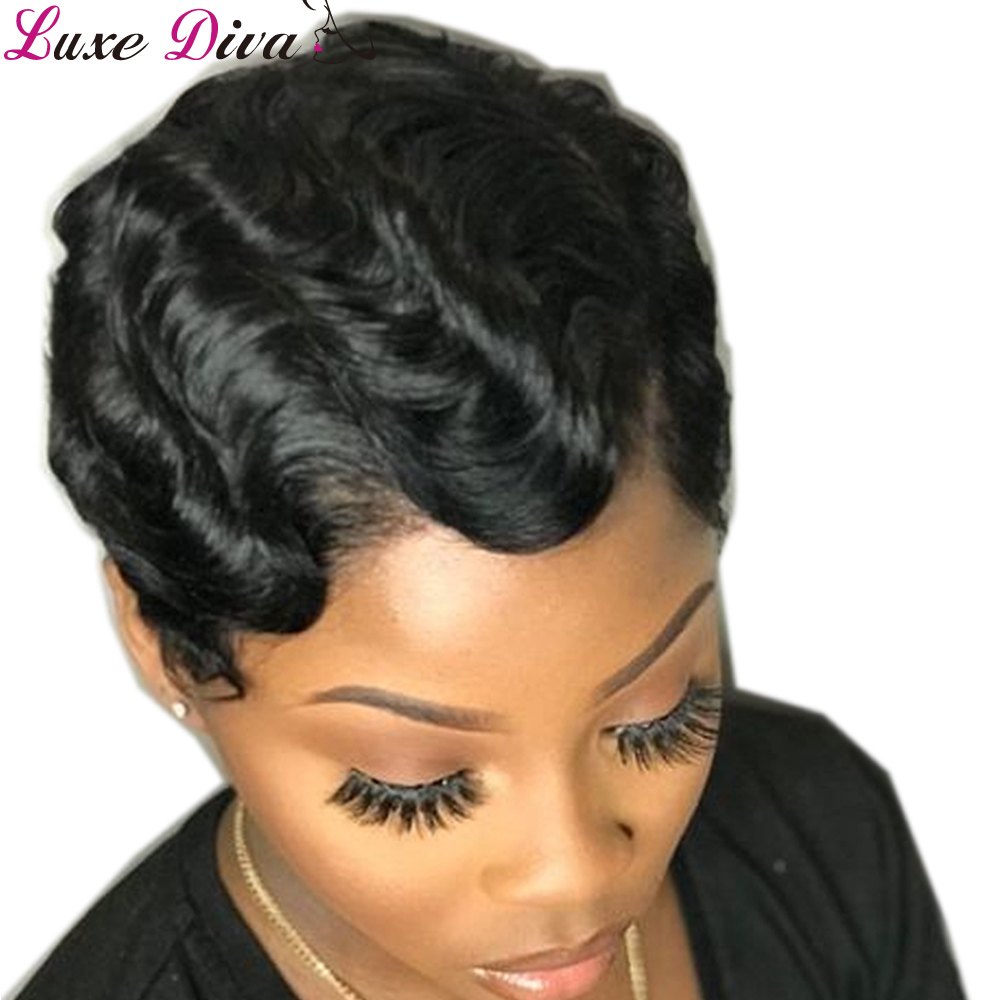 Luxediva Short Lace Wigs For Black Women Finger Wave Human Hair Wig Human Hair Lace Part Wig Pixie Cut Malaysian Remy Hair