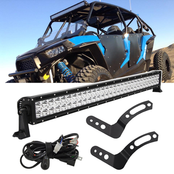 For 30 inches 180W Straight LED Light Bar with Below Roof Mount Brackets and Wiring Kit Fit POLARIS RZR 900 XP 1000