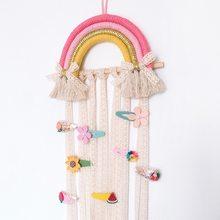 Arco-íris parede pendurado decoração arcos de cabelo cinto de armazenamento para meninas grampos de cabelo barrette hairband organizador tira titular ornamento