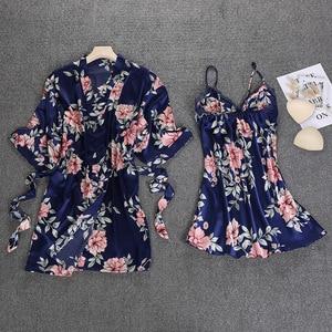 Image 4 - 블랙 봄 새로운 여성 2pcs 가운 정장 슬리퍼 캐주얼 홈 파자마 섹시한 스트랩 Nightwear 수면 기모노 목욕 가운 세트