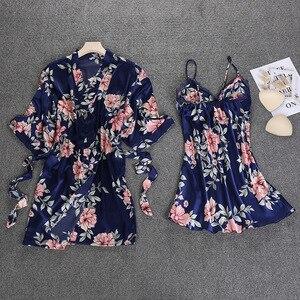 Image 4 - Black Spring NEW Womens 2pcs Robe Suit Sleepwear Casual Home Wear Pajamas Sexy Strap Nightwear Sleep Kimono Bath Gown Sets