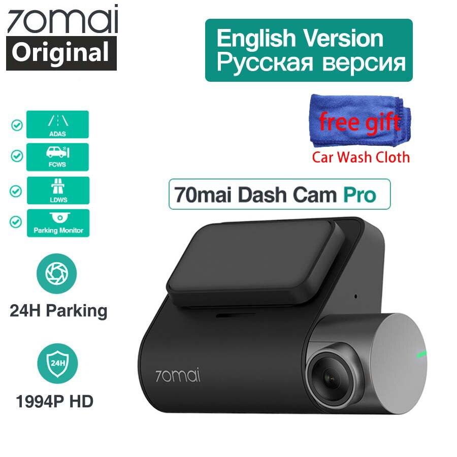 Original 70mai Pro Inglês Voice Control GPS Câmera Do Carro Traço Cam Wi-fi 70 mai 1944P Night Vision Dvr Dashcam monitor de estacionamento ADAS