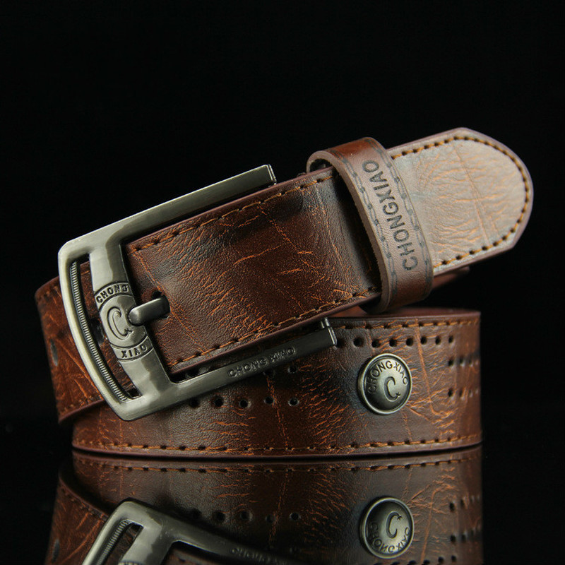 New High Quality Needle Buckle Style Leisure Men's Belt Hollow-out Rivet Punk PU Leather Men's Jeans Wide Belt