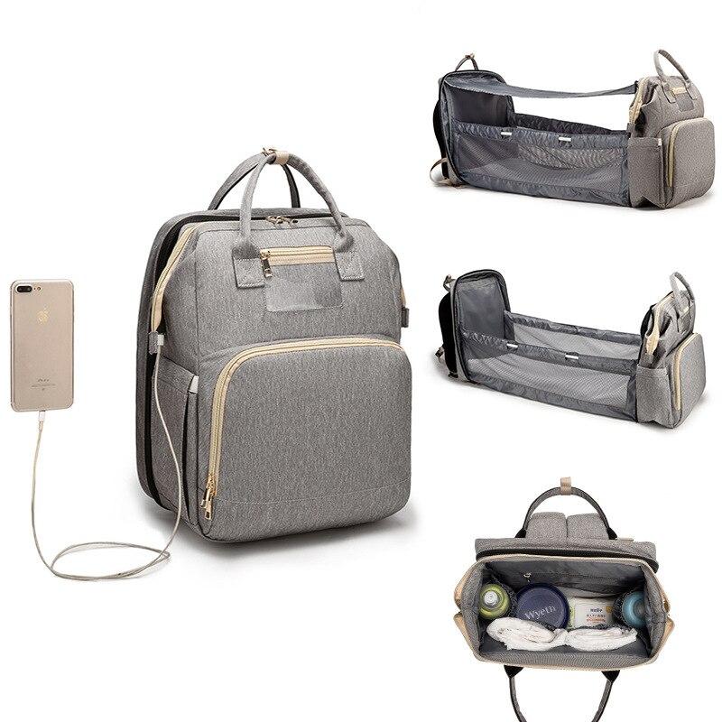 Portable Fold Bed Backpack Baby Diaper Bag Sunshade Mummy USB Charging Bag Maternity Waterproof Nappy Bag  Large Capacity Bag