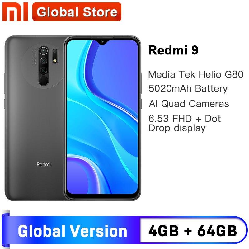 Глобальная версия Redmi 9, 4 ГБ, 64 ГБ, смартфон, Восьмиядерный, Media Tek Helio G80, 13 МП, задняя камера, 5020 мАч, Redmi9 Type-c, 6,53