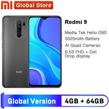Globalna wersja Redmi 9 4GB 64GB Smartphone octa-core Media Tek Helio G80 13 MP tylna kamera 5020 mAh Redmi9 type-c 6 53 #8243 tanie tanio XIAOMI Nie odpinany CN (pochodzenie) Android Rozpoznawania linii papilarnych Inne 13MP Szybkie ładowanie 3 0 Smartfony