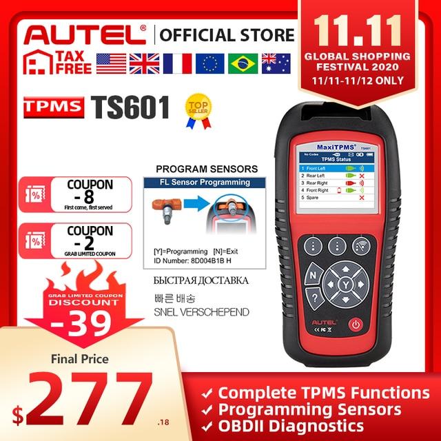 AUTEL MaxiTPMS TS601 Car OBD2 Diagnostic Tool Activate Tire Sensor TPMS Reprogramming Automotive Code Reader Scanner PK TS501