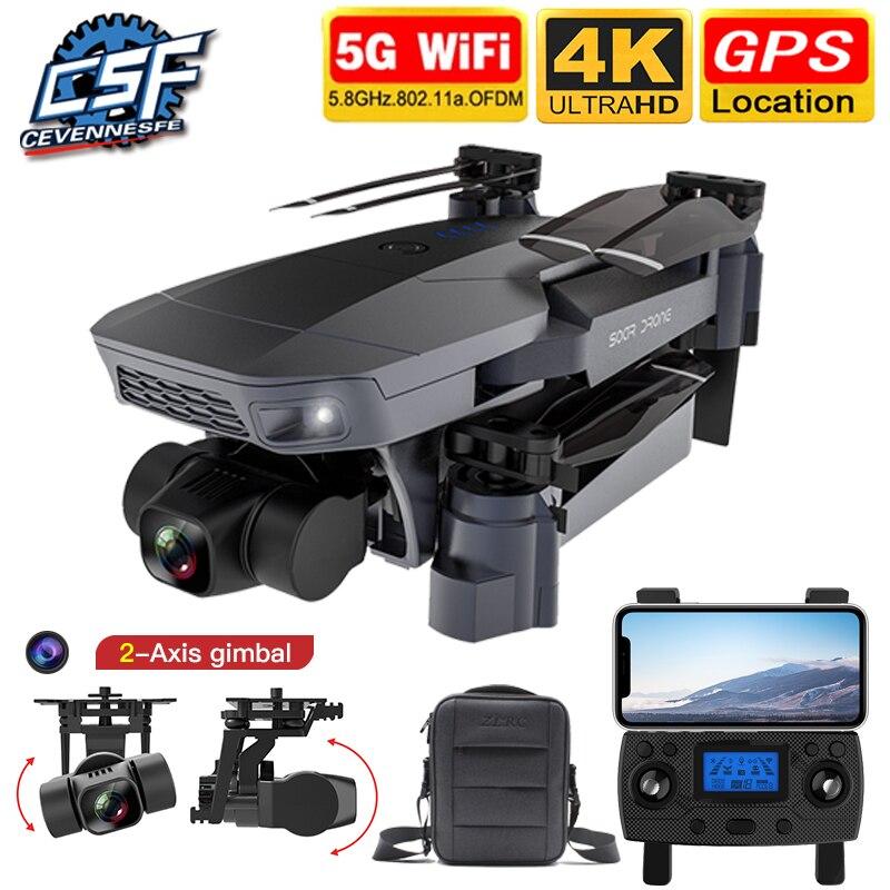 2020 nova sg907 pro zangão gps 5g wifi 4k hd quadcopter mecânica 2-axis cardan câmera suporta tf cartão rc drones distância 800m