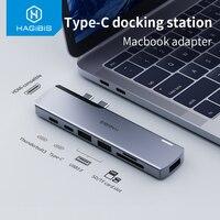 Hagibis Dual USB-C HUB tipo-C a 4K HDMI compatible con SD/lector de tarjetas TF thunderbolt 3 PD USB 3,0 HUB adaptador para MacBook Pro aire