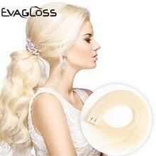EVAGLOSS, натуральные человеческие волосы для наращивания на Клейкой Ленте, 10 шт., 20 шт., 40 шт., клейкие волосы для наращивания на Клейкой Ленте, 12 дюймов/16 дюймов/20 дюймов