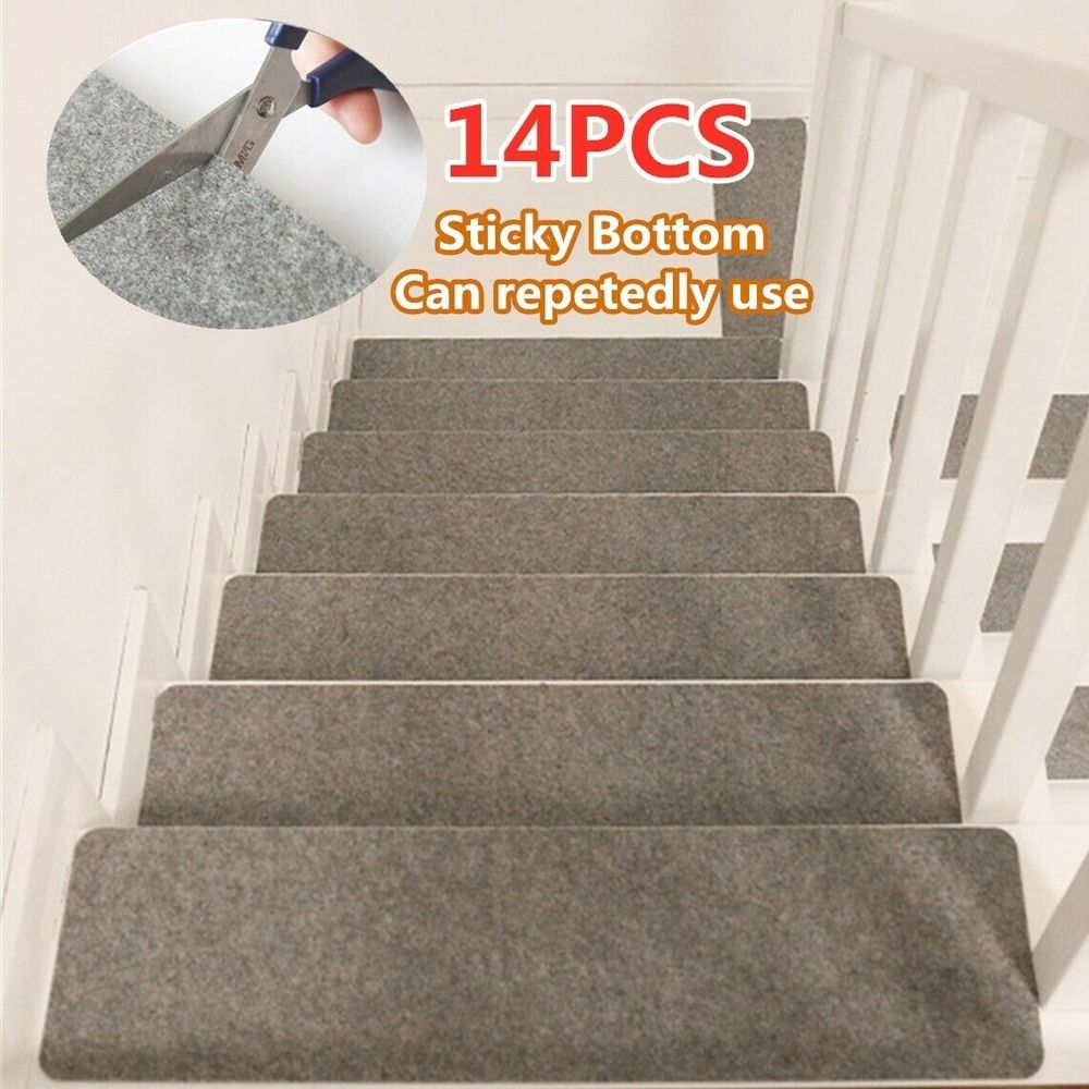 14Pcs/Set Stair Treads Rectangle Non-slip Rugs Floor Mat Self-adhesive Cover Step Staircase Repeatedly-use Safety Pads Mat