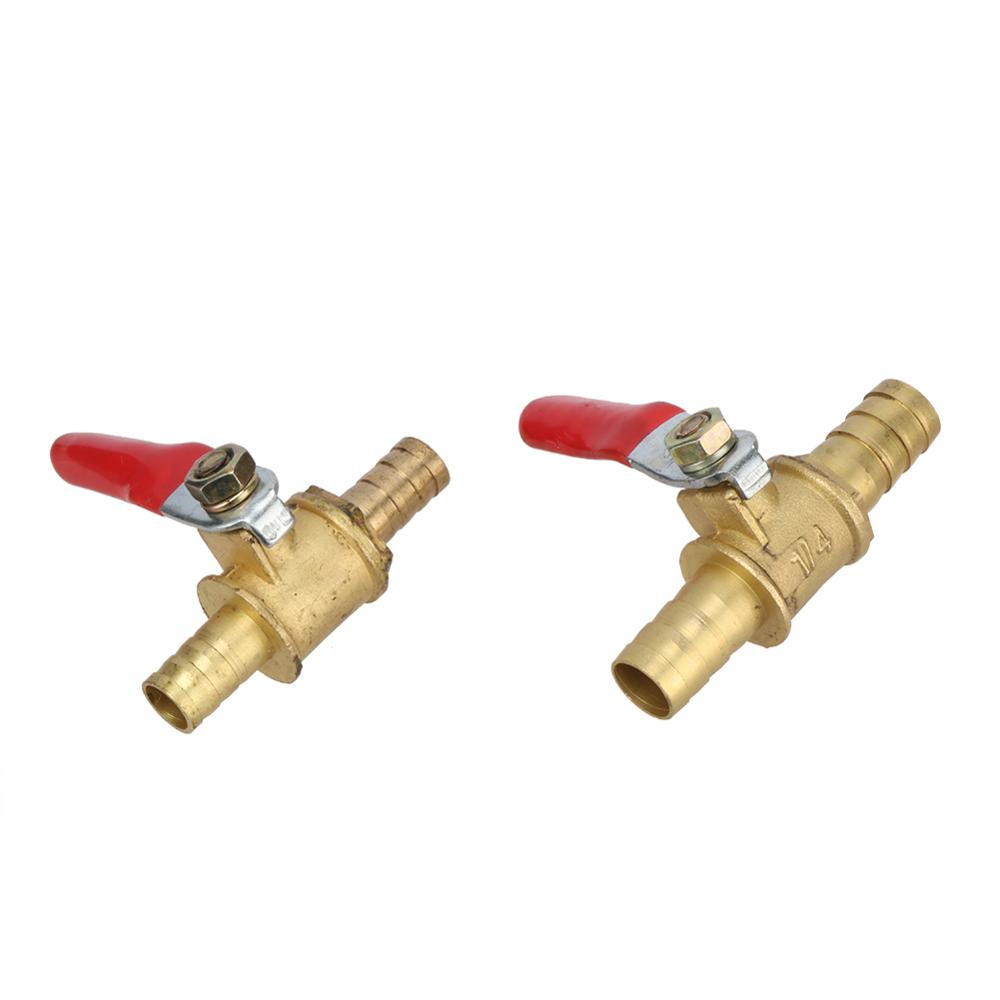 Red Handle Valve 8mm 10mm Hose Barbed Ball Valve Inline Brass Water Oil Air Gas Straight Shutoff Ball Valve Pipe Fittings
