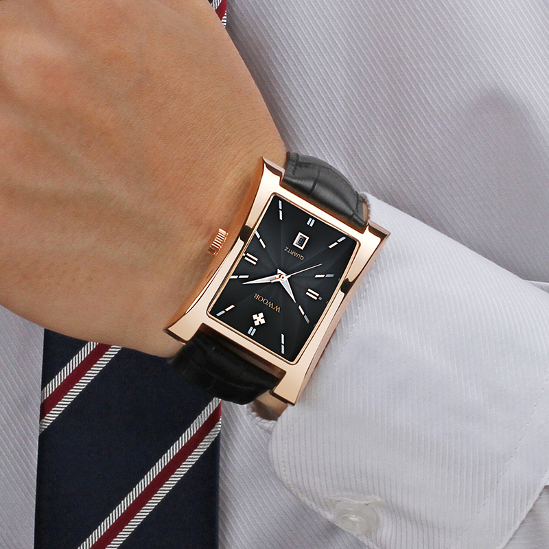 WWOOR Watch Men Top Brand Luxury Gold Black Square Watches For Men Leather Waterproof Date Clock Business Quartz Wrist Watch Box 4