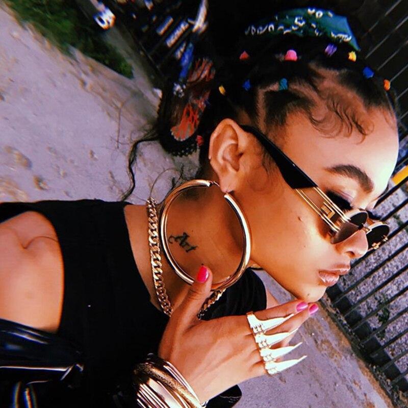 Simple Silver Gold Big Circle Hoop Earrings For Women Diameter 3-9cm Personality Punk Tide Models Wild Youth Ladies Earrings