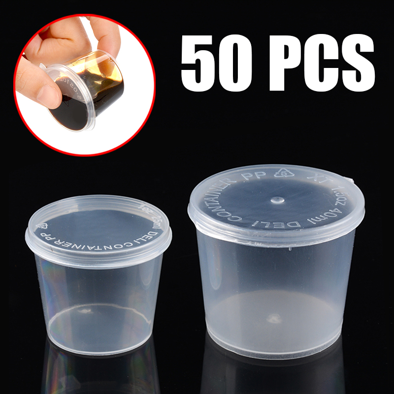 50pcs/set Clear Plastic Small Sauce Food Cups Pocket Sauce Condiments Containers Boxes With Sealing Lids Anti Leak 1oz/1.5oz