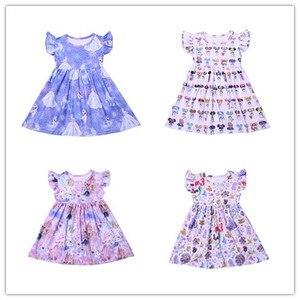 Vêtements d'été pour petites filles | Tenue à manches courtes, motif de dessin animé, en gros, tendance, nouvelle collection