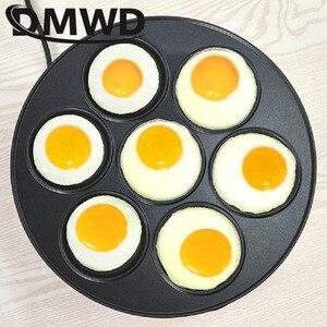 Image 3 - DMWD 7 trou poêle électrique omelette poêle pour oeufs jambon poêle gâteau fabricant poêles antiadhésive petit déjeuner Grill poêle marmite EU