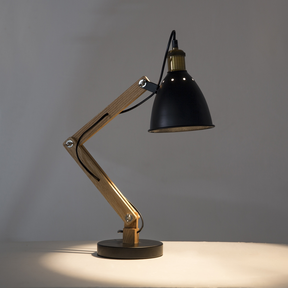 OYGROUP Wooden Swing Arm Desk Lamp, Designer Table Lamp, E27, Multi-Joint, Adjustable Arm, Black Finish, Heavy Base, No Bulb