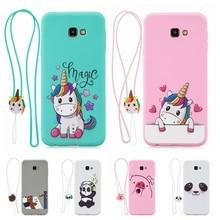 J4 Kawaii for etui Samsung J6 Plus 2018 Case Cover 3D Lanyard Unicorn Silicone Galaxy