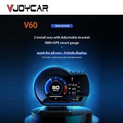 Vjoycar V60 новейший дисплей на голову Авто дисплей OBD2 + GPS умный автомобильный HUD датчик цифровой одометр охранная сигнализация вода и масло темп...