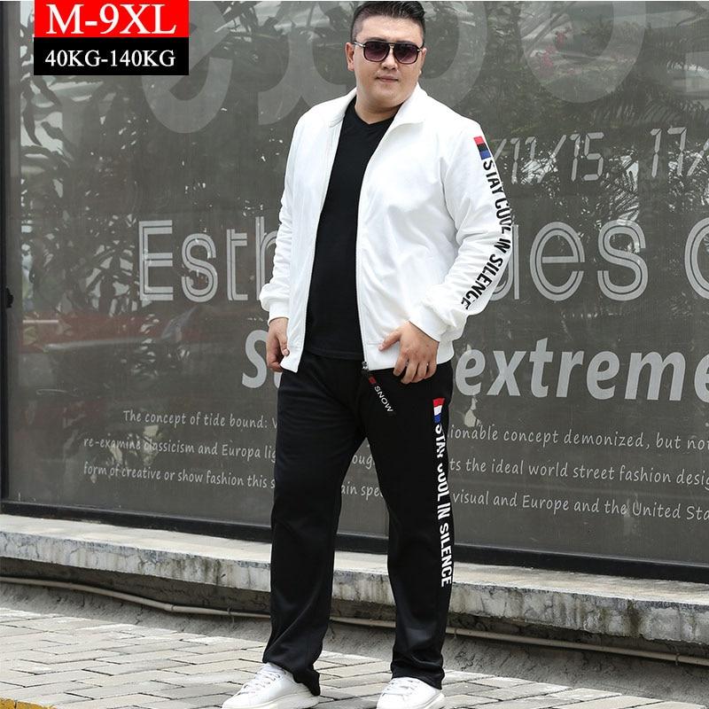 Tracksuit Set Men Clothes 2019 Fashion Fat Plus Size 7XL 8XL 9XL Sportwear Men Jacket +Pants 2 Piece Sets Sweat Suit Sweatshirts