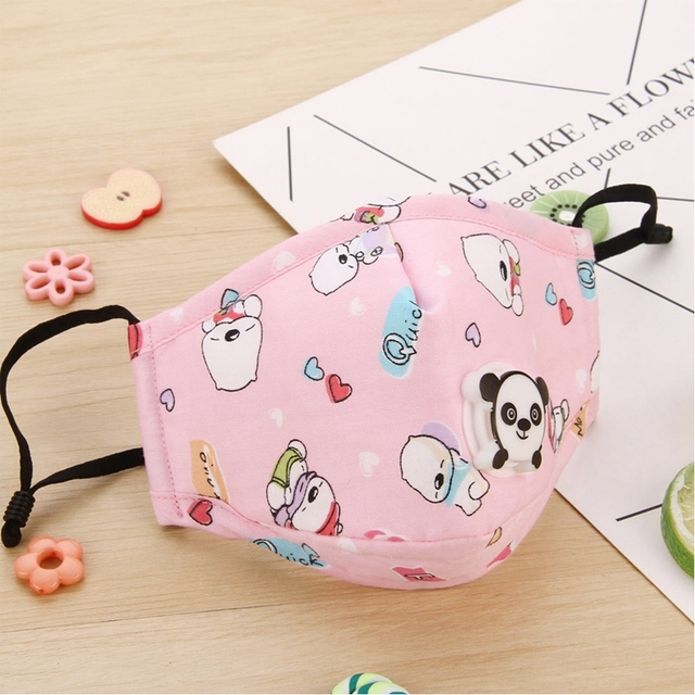 4pcs Kids Face Mask PM2.5 Washable Mouth Mask With Valve Children Anti Haze Mask Nose Filter Flu Respirator For Boys Girls 4