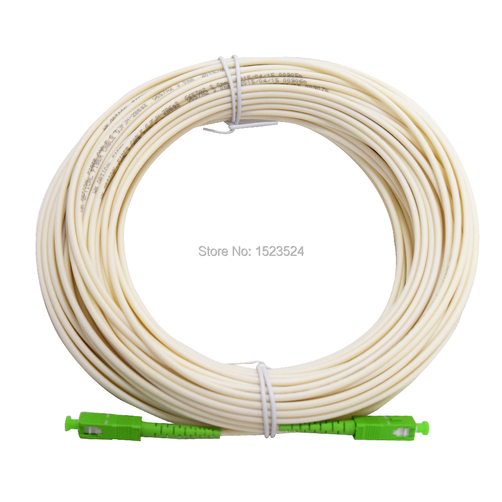White Color SM SX PVC 3mm 30 Meters SC/APC Fiber Optic Jumper Cable SC/APC-SC/APC Fiber Optic Patch Cord