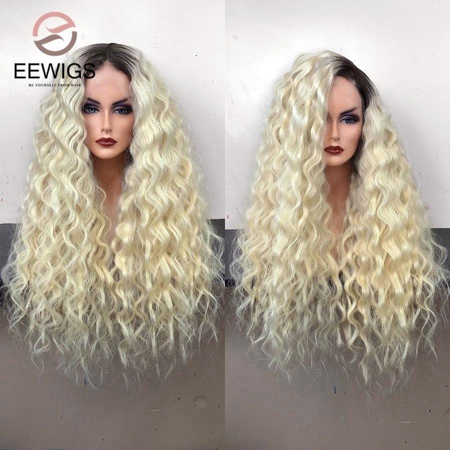 EEWIGS-peluca con malla frontal rizada rubio platino para mujer, pelo Natural, encaje sintético suelto, resistente al calor, rizado