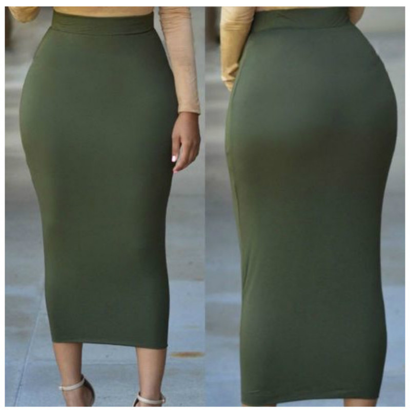 Muslim Thick Bodycon Slim Vintage High Waist Stretch Long Maxi Women Autumn Winter Pencil Skirt